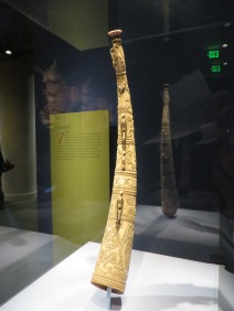 Ivory hunting horn, Sierra Leone, likely made for a European given the carved prints (1500)