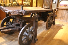 Wine cask cart, 1648 - handcarved with religious and cultural icons, likely made for an Argentine vintner